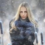 Girl in snow park — Stock Photo #41199753