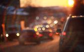 Traffic jam in snow city — Stock Photo
