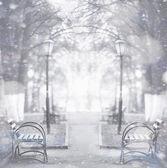 City autumn bench — Stock Photo