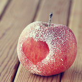 Apple with heart symbol — Stok fotoğraf