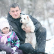 Girl with dad and dog — Stock Photo #41327683