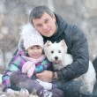 Girl with dad and dog — Stock Photo #41327715