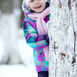 Girl near tree — Stock Photo