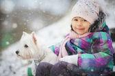 Girl with white dog — Stok fotoğraf