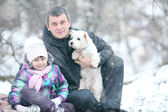 девушка с папа и собака — Стоковое фото