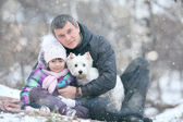 Girl with dad and dog — Stock Photo