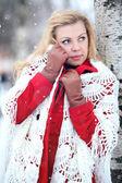 Blonde in shaw over birchwood — Stock Photo