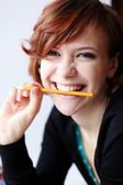 Girl with pencil — Stock Photo