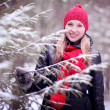 Girl in winter forest — Stock Photo #41332345
