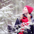 Girl in winter forest — Stock Photo #41332357