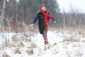Happy girl running — Stock Photo