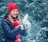 Woman playing with snow — Stock Photo