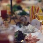 Restaurant serving champagne glasses — Stock Photo