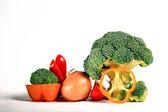 Broccoli, pepper and onion — Stock Photo