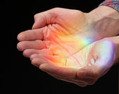 Rainbow in the hands — Stock Photo