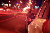 City car traffic at night — Stock Photo