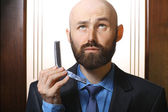 Bald  with comb — Stock Photo