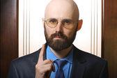 Bearded man pointing — Stock Photo
