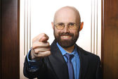 Bearded man showing fig gesture — Stock Photo