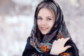 Blond woman with traditional shawl — ストック写真