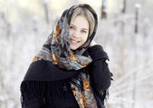 Blond woman with traditional shawl — Stock Photo