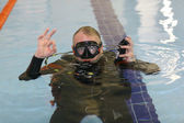 Diver gesturing ok sign — Stock Photo
