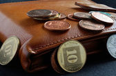 Yellow purse with different coins — Stockfoto