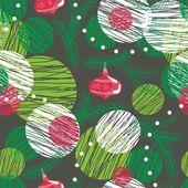Seamless christmas tree pattern on dark — Stock Vector