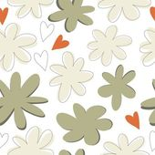 Flowers and hearts on white background — Stock Vector