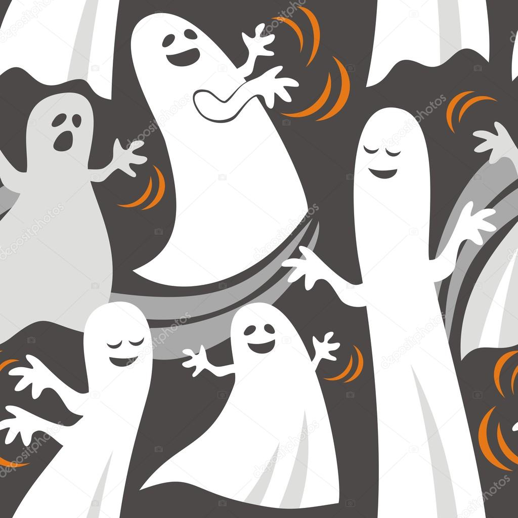 Seamless pattern with lot of  funny ghosts — Stock Vector #12460204