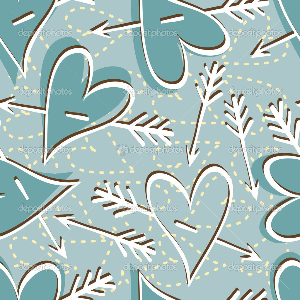 Seamless pattern of cute hearts and arrows on blue background — Stock Vector #12464244
