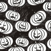 Monochrome scary pumpkins — Stock Vector