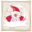 Red santa claus on snowflakes — Stock Vector