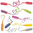 Love signs with colorful crayons — Stock Vector
