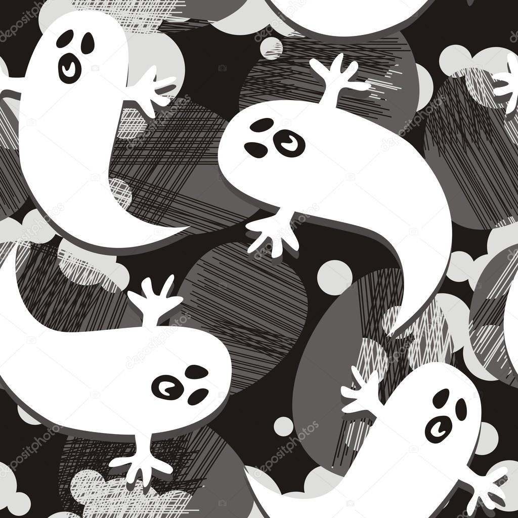 Seamless halloween pattern with scared ghosts — Stok Vektör #12786668