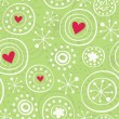 Snowflakes with red hearts on green - Stock Vector