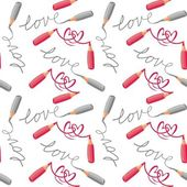 Love and hearts red gray crayons seamless pattern — Stock Vector