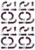 Patterned arrows set on white — Stock Vector