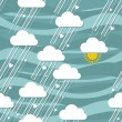 Sunny rain of hearts seamless pattern — Imagen vectorial