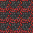 Stock Vector: You and me with red hearts on dark background seamless pattern