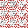You and me with red hearts on white background seamless pattern — Stock Vector #13507491
