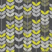 Retro verde hojas en las ramas de patrones sin fisuras de fondo oscuro — Vector de stock