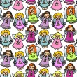 Colorful singing angels on white background — Stock vektor