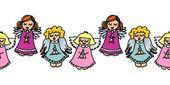 多彩唱歌的天使无缝水平边框粉色和蓝色的 — 图库矢量图片