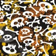 Stock Vector: Skulls and bones on messy dark halloween background
