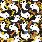 Ghosts en snoep op rommelig donkere halloween achtergrond — Stockvector