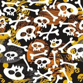 Skulls and bones on messy dark halloween background — Stock Vector