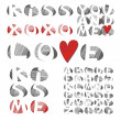 You and me with red hearts on white background letter set — Stock Vector #13741215