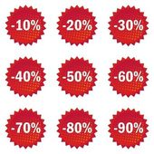 Red star shaped discount offer shiny button set — Stock Vector