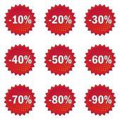 Ustaw przycisk błyszczący czerwony gwiazda kształt rabat oferta — Wektor stockowy